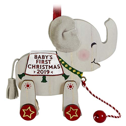 Hallmark Keepsake Ornament 2019 Year Dated Baby's First Christmas Elephant Pull Toy, Wood (Wooden Ornaments Elephant)