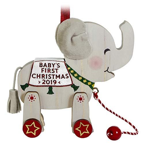 Christmas Elephant - Hallmark Keepsake Ornament 2019 Year Dated Baby's First Christmas Elephant Pull Toy, Wood,