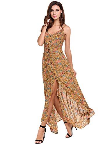 - ACEVOG Women s Button Up Split Floral Print Flowy Sleeveless Maxi Dress, Yellow, XX-Large