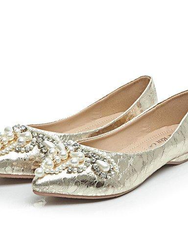 PDX/ Damenschuhe-Ballerinas-Büro / Kleid / Lässig-Kunstleder-Flacher Absatz-Komfort / Vorne offener Schuh-Silber / Gold , golden-us6 / eu36 / uk4 / cn36 , golden-us6 / eu36 / uk4 / cn36