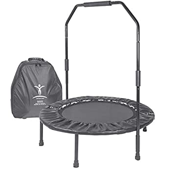 Image of Cellerciser TRI-FOLD Rebounder Kit - Includes Stabilizing Bar and Wheeled Carrying Case Fitness Trampolines