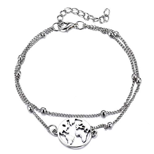 Earth Map Anklet Geometric...
