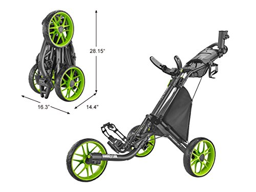 (CaddyTek Caddylite EZ V8 - EZ-Fold 3 Wheel Golf Push Cart Version 8, Lime )