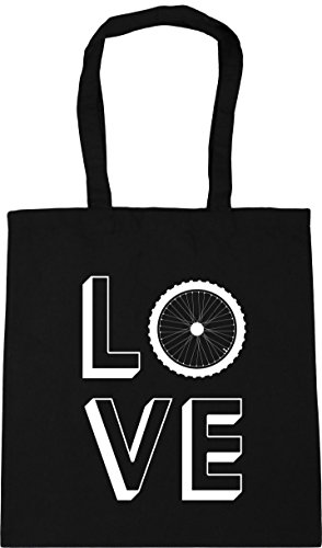 Black Bag Gym HippoWarehouse 10 Love 42cm litres x38cm Shopping Beach Cycling Tote FqPqYw