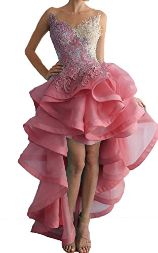Dresses Women's High Party Lace Beaded Homecoming Prom Dresses Pink Low DKBridal Organza Evening Appliques zdqzw7