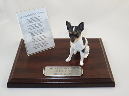 Beautiful Walnut Finished Personalized Memorial Plaque With Rat Terrier - Figurine Rat Terrier