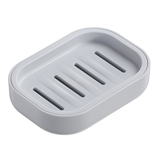 Uviviu PP Plastic Soap Box,Dish,Soap Container, Keeps Soap Dry,Easy Cleaning,Drain, Grey blue