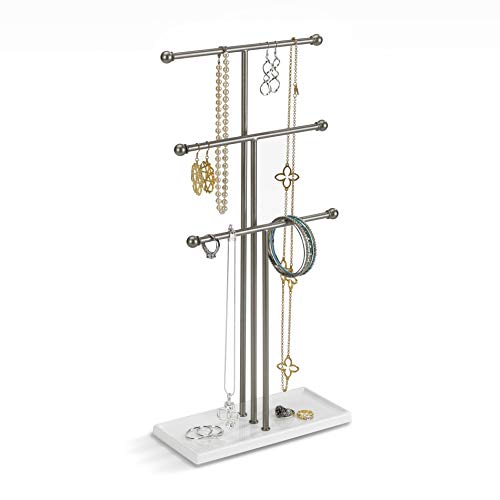 (Umbra Trigem Hanging Jewelry Organizer - 3 Tier Table Top Necklace Holder and Display, White/Nickel)