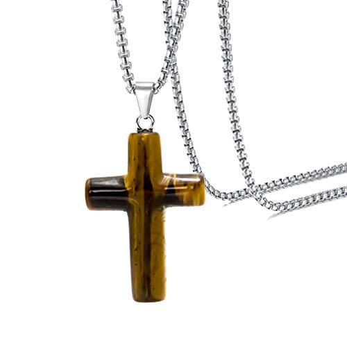Xusamss Fashion Religion Christ Natural Stone Cross Pendant Necklace,24