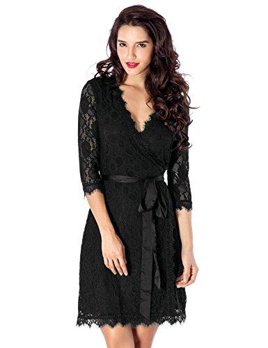 Buy black 3 4 sleeve formal dress - 2