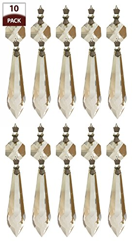 Royal Designs CPC-1005-CH-1-10 Replacement Chandelier Crystal Prism Clear K9 Quality U-Drop With Chrome Connectors And An Octogan Crystal Beads Pack Of 10, 2.5