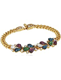 Maharaji Swarovski Crystal Marquise Cut Gold Link Bracelet