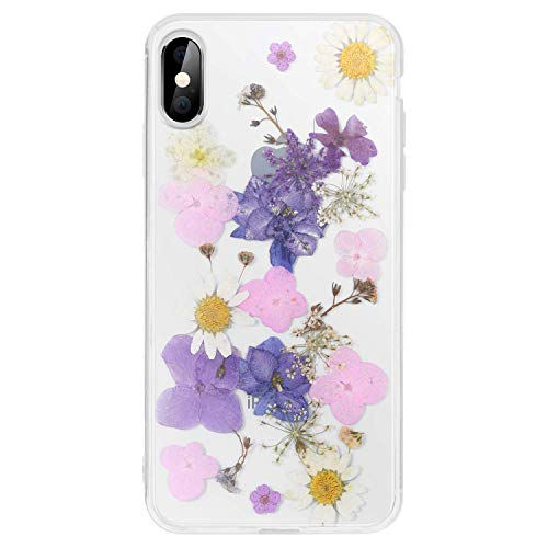 (iPhone Xs Case,iPhone X Case,WATACHE Pressed Dried Real Flowers Slim Thin Clear Crystal Hard PC Back + Soft TPU Bumper Protective Case for Apple iPhone Xs/X (Purple) )