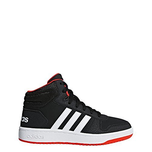 adidas Unisex Hoops 2.0 Basketball Shoe, black/white/red, 2 M US Little Kid