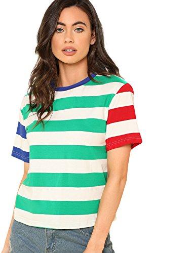 (ROMWE Women's Cute Color Block Stripe Short Sleeve T-shirt Top Blouse #Multicolor_2 L)