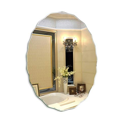 GXFC Mirror Bathroom, Wall-Mounted Oval Frameless Makeup Vanity Mirror Bedroom Dressing Mirror Mirrored Glass Panel Wave Shape Edge