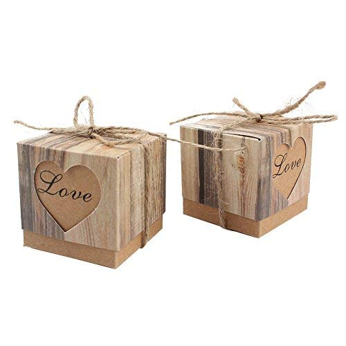CTY Party 50pcs Romantic Heart Candy Boxes for Wedding Favors and Gifts ()