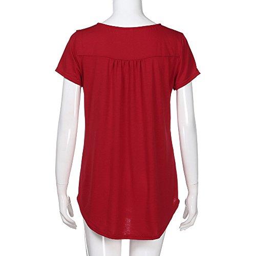 Élégant Femme Shirt Chic Sanfashion shirt Amincissant Courtes Rouge Sweat Plier Haut Basique Longue Bouton Manches Hiver Manche Tops wSn7dqx75