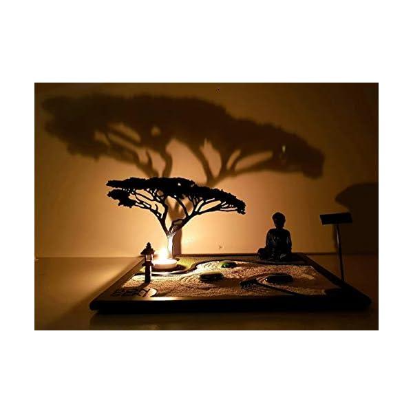 Bonseki® Giardino Zen da tavolo 30 x 30 in legno, proietta l'ombra del bonsai sulla parete, personalizzabile. 2 spesavip