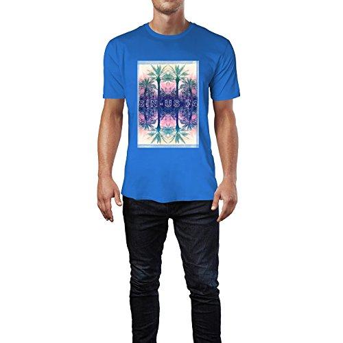 SINUS ART® Spiegelnde Palmen vor Sonnenuntergang Herren T-Shirts in Blau Fun Shirt mit tollen Aufdruck