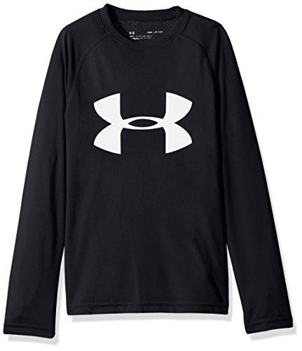 Under Armour Boys' Big Logo Long Sleeve T-Shirt,Black/White, Youth X-Small ()