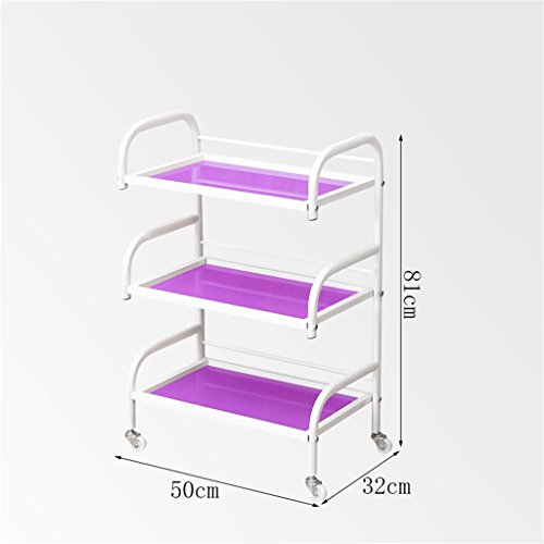 Beauty Car Shelf Iron Art Storage Rack Beauty Salon Yield Iron Art Tool Holder Three-Layer Glass Panel Trolley -Tool cart (Color : White Sand) by Multi-function trolley (Image #4)