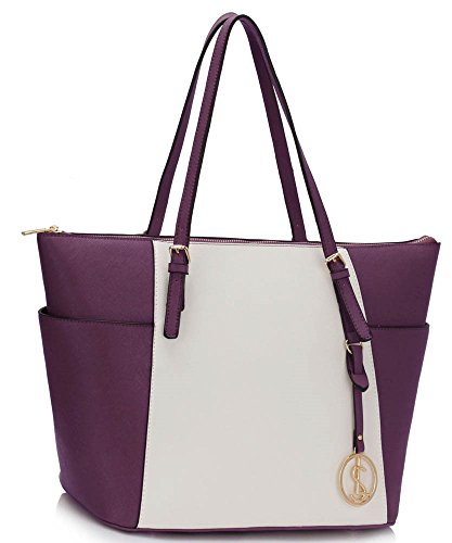 Ladies Large Shoulder Handbag Women's Quality Faux Leather Celebrity Shopper Tote Bags CWS00350 (CWS00350-Purple/White/Cream)