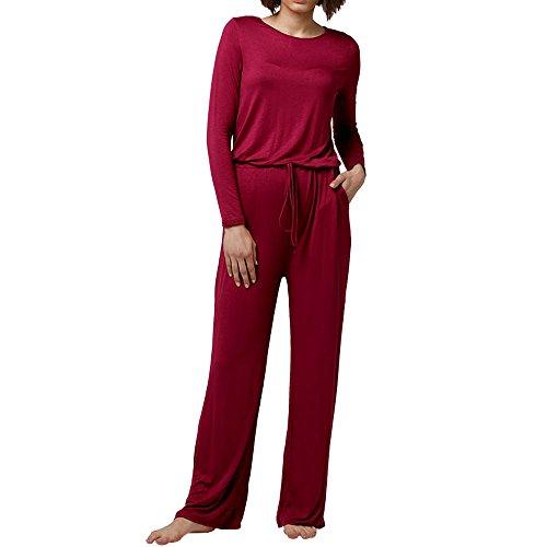 Scoop Jumper - Dreamskull Womens Loose Casual Pockets Jumper Scoop Wide Legs Long Sleeve Jumpsuits,Wine-red,Large