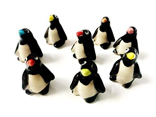 Tyga_Thai Brand Set 4 pcs. Miniature Ceramic Penguins Animal Painted Figurine Statue Decorative Collectibles (Ceramic -Penguins-Animal)