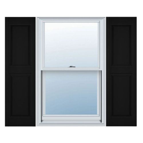 12 in. Vinyl Raised Panel Shutters in Black - Set of 2 (12 in. W x 1 in. D x 39 in. H (4.2 lbs.)) - Exterior Shutter