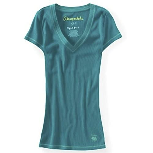 Aeropostale Womens V-Neck Stretch Ribbed Solid T-Shirt