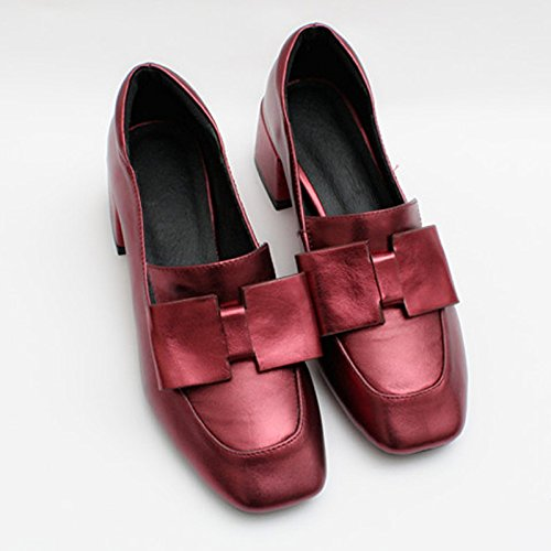 MINIVOG Bows Block Mid Heel Square Toe Women Pump Shoes Red 28ujADH