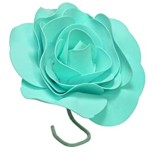 IG Artificial Rose Foam EVA Flower 8 Inch Round with Stem (3 Pieces) Turquoise 46