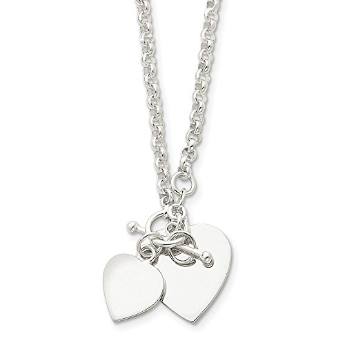 925 Sterling Silver Double Heart Toggle Necklace 18inch ()