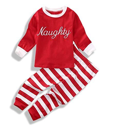 a566ada689 Mini honey Baby Kids Boy Girl Xmas Sleepwear Nice Naughty Long Sleeve  Tops+Stripe Pants