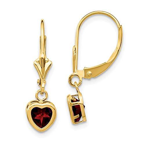 14K Yellow Gold 5mm Heart Garnet Dangle Earrings
