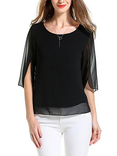 Angelady-Women-Chiffon-T-shirt-Blouse-Scoop-Neck-34-Sleeve-Casual-Top