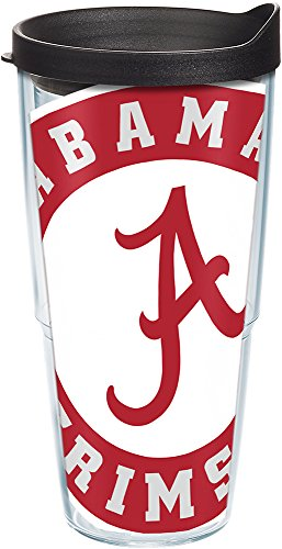 Tervis 1084703 Alabama Crimson Tide Colossal Tumbler with Wrap and Black Lid 24oz, Clear (Crimson Tide Alabama University)
