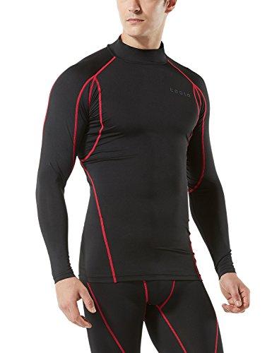 TM-MUT12-KKR_Large Tesla Men's Mock Long-Sleeved T-Shirt Cool Dry Compression Baselayer MUT12
