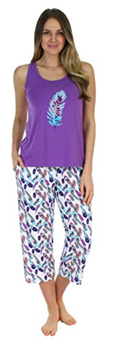 Sleepwear Jersey Lightweight Tank Top and Capri Pajama Set (SH1832-4083-MED) (Womens Pajamas Set Top Pants)