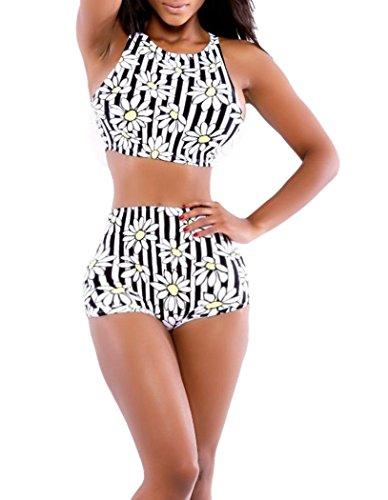Elady Sexy Bikini Printed Top Bottom Sets Swimsuit Floral Beachwear (M)