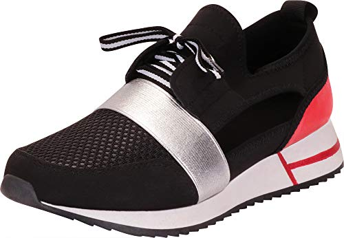 Cambridge Select Women's Colorblock Mesh Ugly Dad Chunky Platform Fashion Sneaker,6 B(M) US,Black/Red