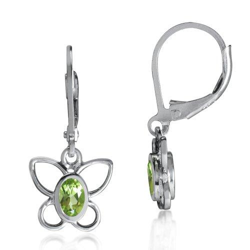 Butterfly Peridot Earrings - Silvershake Natural Peridot 925 Sterling Silver Butterfly Leverback Dangle Earrings