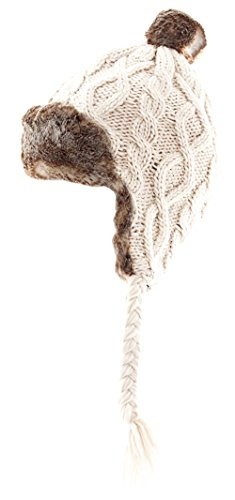 - Aran Traditions Cream White Faux Trapper Hat