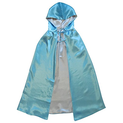 Blue Fairy Costumes For Adults (Superhero or Princess REVERSIBLE HOODED CAPE Kids Adult Halloween Costume Cloak (XS/S (30 Inches), Light Blue & Silver))