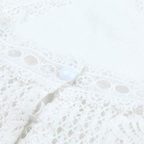 Mode Vetement Creux Chemise Caline Manches Elgante Haut Debout Button pissure Courtes Jeune Uni Et Femme Manche Mode Top Tops Basic Blanc Dentelle Casual Blusen Col xwIYA4gqHW
