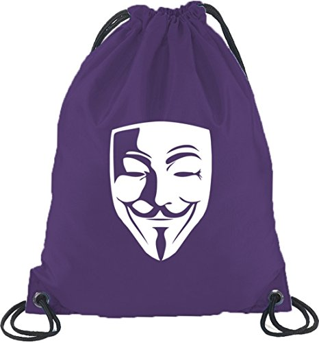 Shirtstreet24, ANONYMOUS MASKE, Guy Fawkes Vendetta Turnbeutel Rucksack Sport Beutel Lila