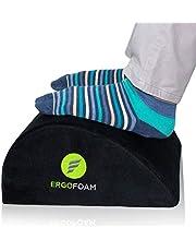 ErgoFoam Foot Rest Under Desk | Orthopedic Teardrop Design | Premium Velvet Soft Foot Stool Under Desk | Most Comfortable Desk Foot Rest for Lumbar, Back, Knee Pain (Black)