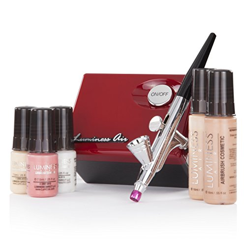 Luminess Air Red & Black Legend Airbrush System with 5 Piece Deluxe Airbrush Foundation & Cosmetic Starter Kit, Fair