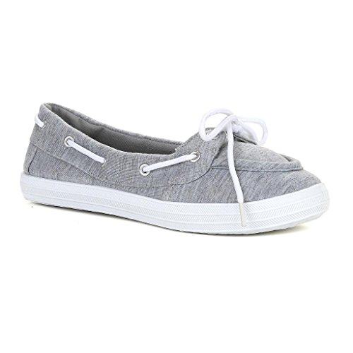 Twisted Women's Champion Canvas Athletic Boat Shoe - CHAMPION11H.GREY, Size 9